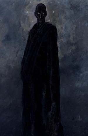 A depiction of Nyarlathotep as a tall, dark figure.