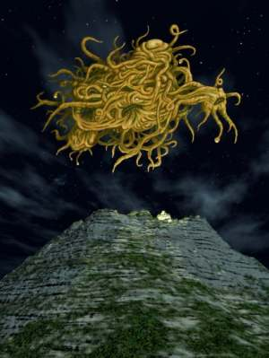 An illustration of Yog-Sothoth above a pyramidal mountain.
