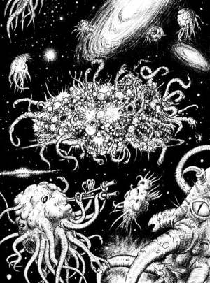A depiction of Azathoth surrounded by other Lovecraftian creatures.